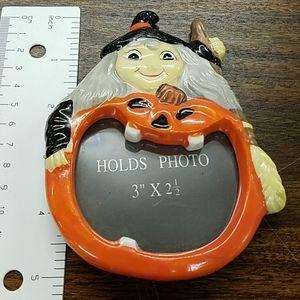 Halloween Witch Jack O Lantern Photo Frame